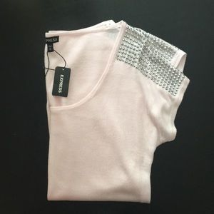 Express short sleeve pink top with silver studs